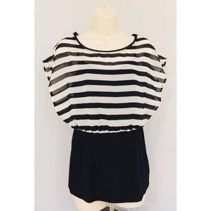 WHBM Black White Striped Sheer Blouse w/ Cami